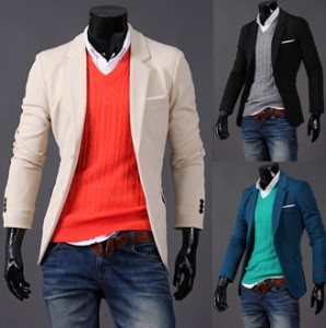 A casual blazer and a colorful v-neck makes all the difference.